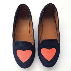 Crewcuts J Crew girls canvas navy heart loafers 13